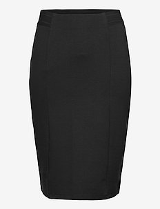 Skirt Stretchy Plus Size Close-Fitting Plain - midi skirts - black