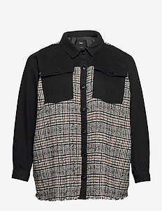 Jacket Check Plus Size Collar Buttons - overshirts - black