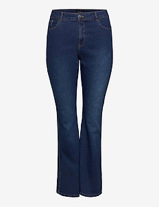 Jeans Bootcut Plus Size High Waist Flared - bootcut jeans - dark blue