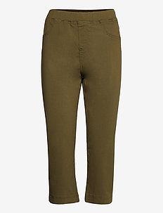 Cropped Trousers Plus Size 3/4 Length Close-Fitting - pantalons capri - green