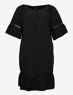 Dress Short Sleeves Plus Size Round Neck - sommerkjoler - black