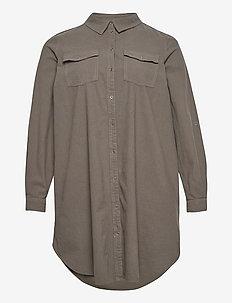 Shirt Cotton Plus Size Buttons Collar Pockets - långärmade skjortor - green