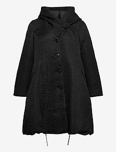 Jacket Button Up Plus Size Hooded - light coats - black