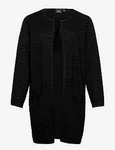 Cardigan Knit Plus Size Pattern Pockets - koftor - black