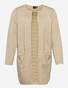 Cardigan Knit Plus Size Pattern Pockets - koftor - sand