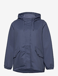 Jacket Hood Plus Size Pockets Zip Buttons - lichte jassen - blue