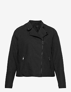 Faux Suede Jacket Plus Size Zipper Collar - lichte jassen - black