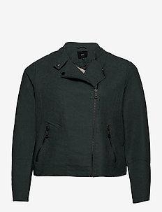 Faux Suede Jacket Plus Size Zipper Collar - lette jakker - green