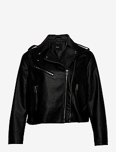 Biker Jacket Plus Size Zipper Pockets - skinnjakker - black
