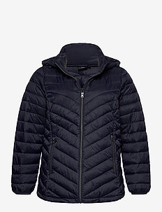 Jacket Quilted Plus Size Hood Zip Short - padded jackets - dark blue