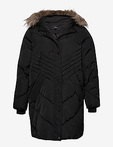 Winter Jacket Plus SIze Hood Fur Collar Zip Quilted - padded jackets - black