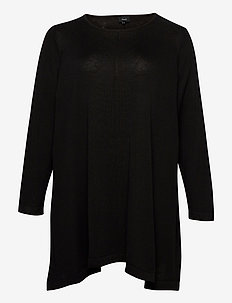 Blouse Plus Size Cotton Viscose Round Neck - jumpers - black