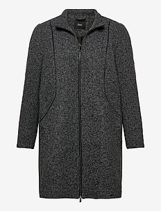 Jacket Texture Plus Size Zip Melange - ullkåper - dark grey
