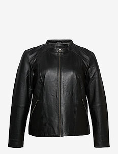 Leather Jacket Plus Size Pockets Zip Close-Fitting - skinnjakker - black