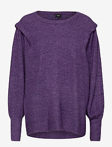 Knitted Blouse Plus Size Balloon Sleeves Mélange Round Neck - tröjor - purple