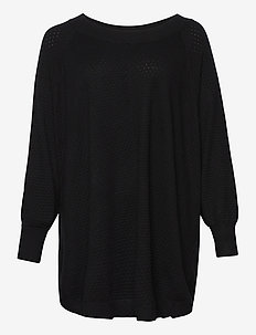 Poncho Plus Size Ribbed Edges Round Neck Knit - ponchos & capes - black