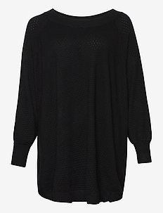 Poncho Plus Size Ribbed Edges Round Neck Knit - ponchoer og kapper - black