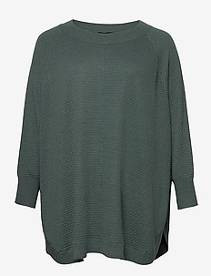 Poncho Plus Size Ribbed Edges Round Neck Knit - ponchos & capes - dark green