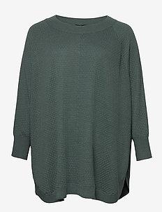 Poncho Plus Size Ribbed Edges Round Neck Knit - ponchoer og kapper - dark green