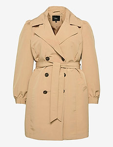 Jacket Classic Plus Size Belt Collar - wool jackets - sand