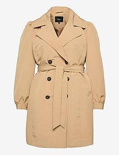 Jacket Classic Plus Size Belt Collar - trenchcoats - sand