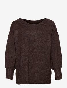 SUNNY BOATNECK, L/S, PULLOVER - strikkede toppe - brown