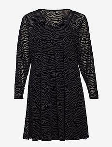 MMARIE, L/S, MESH DRESS - BLACK