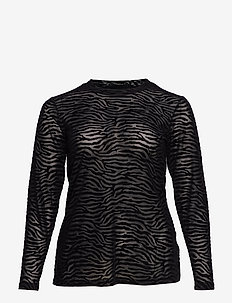 MMARIE, L/S, MESH TOP - pitkähihaiset t-paidat - black