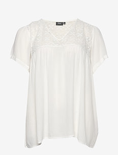 MIRENE, S/S, BLOUSE - OFF-WHITE