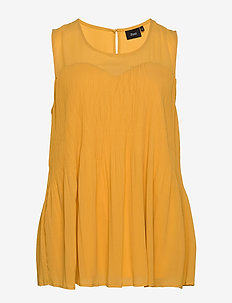 MIDDA, S/L, TOP - sleeveless tops - dark yellow