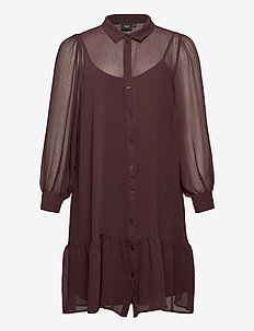 Dress Buttons Plus Size Collar Long Sleeves - shirt dresses - dark bordeaux