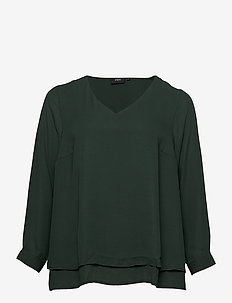 Blouse Plus Size Long Sleeves V-Neck Plain - long sleeved blouses - green