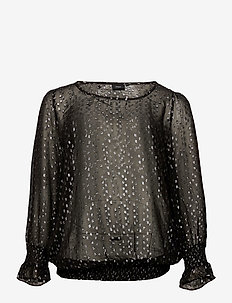 MFREY, L/S, BLOUSE - long sleeved blouses - black