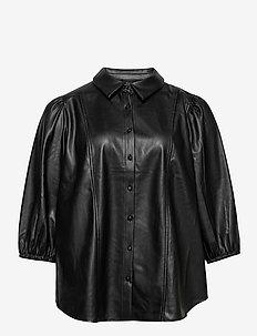 Shirt Immitation Leather Plus Size Puff Sleeves - overshirts - black