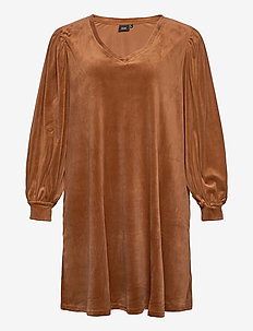 MGISELA, L/S, ABK DRESS - short dresses - brown