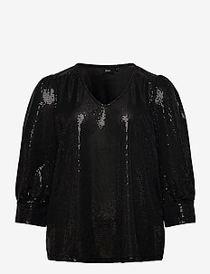Blouse Glitter Plus Size V Neck 3/4 Length Sleeves - long sleeved blouses - black