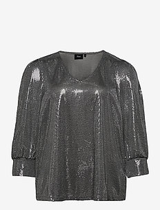 Blouse Glitter Plus Size V Neck 3/4 Length Sleeves - long sleeved blouses - silver