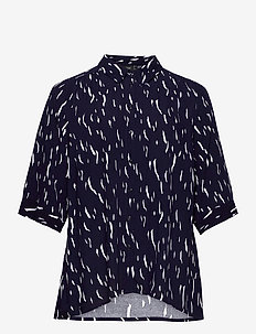 Shirt Print Plus Size Viscose Collar - långärmade skjortor - dark blue