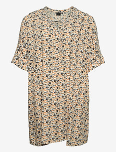 Tunic Plus Size Viscose Short Sleeves Print V-Neck - tunieken - yellow