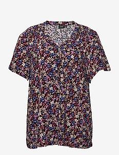 Blouse Plus Size Print V-Neck A-Line Viscose - kortærmede bluser - purple