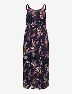 Maxi Dress Plus Size Viscose Floral Print - summer dresses - dark blue