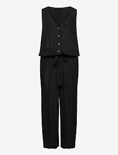 Jumpsuit Sleeveless Plus Size Tie-Belt - jumpsuits - black
