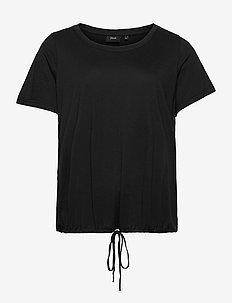 T Shirt Short Sleeves Plus Size Adjustable Drawstring - t-shirts - black