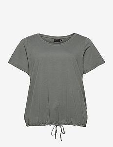 T Shirt Short Sleeves Plus Size Adjustable Drawstring - t-shirts - dark green