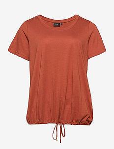 T Shirt Short Sleeves Plus Size Adjustable Drawstring - t-shirts - dark orange