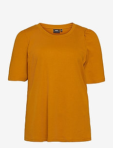 T Shirt Rib Plus Size Puff Sleeves Round Neck - kortärmade blusar - brown