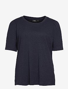 T Shirt Rib Plus Size Puff Sleeves Round Neck - kortärmade blusar - dark blue