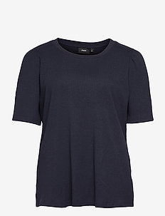 T Shirt Rib Plus Size Puff Sleeves Round Neck - short-sleeved blouses - dark blue