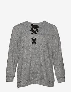 XLUCCA, L/S, LACE UP BLOUSE - GREY