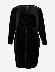 XDULI, L/S, WRAP DRESS - BLACK